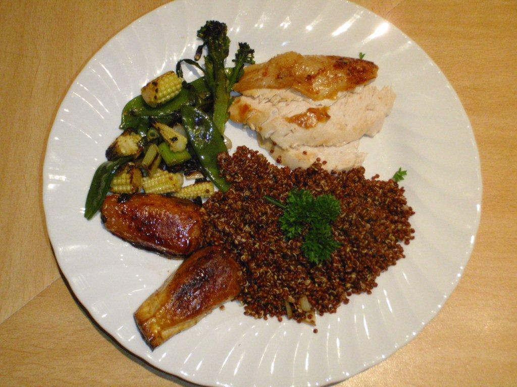 Red Quinoa  with Roast Chicken and Vegetables