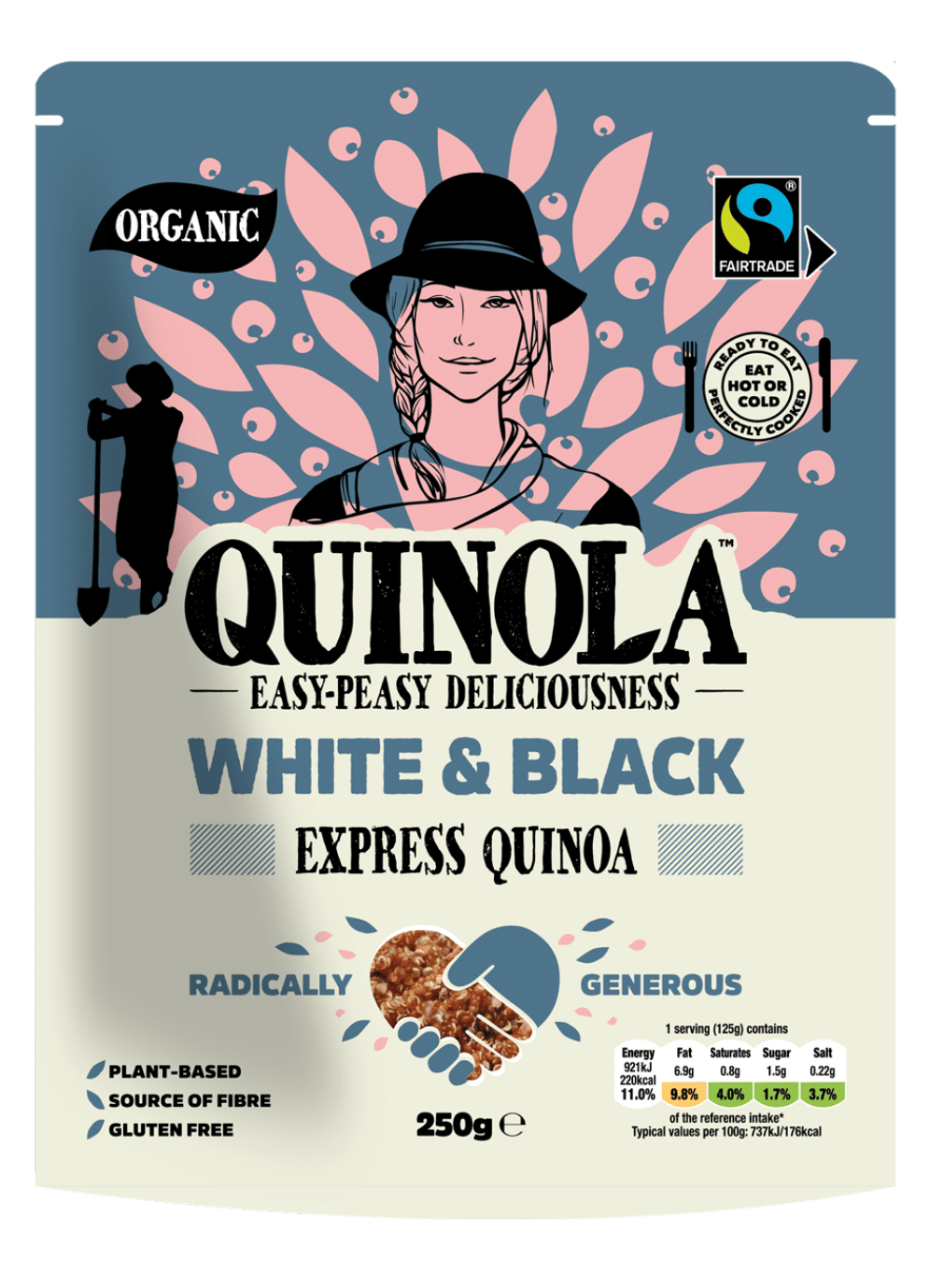 White and black ready to eat quinoa