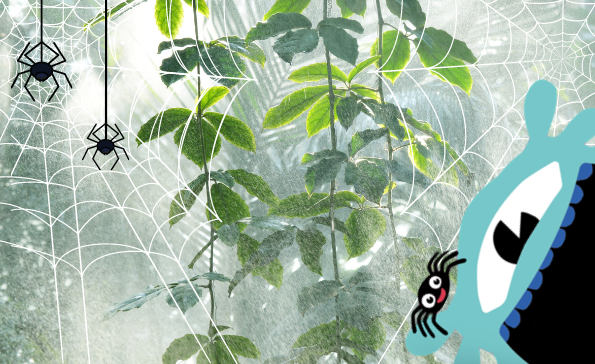 blue monster with spiders in a rainy jungle